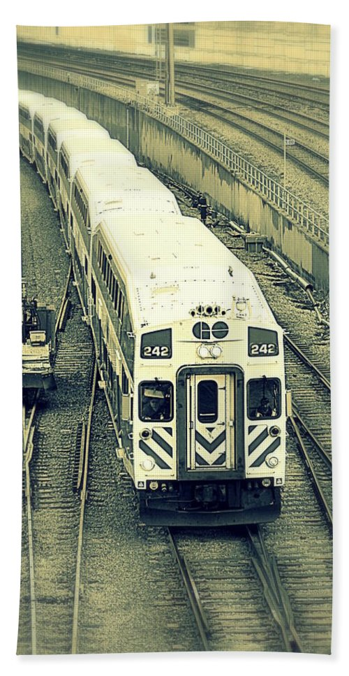 Train Beach Towel featuring the photograph Train Approaching by Valentino Visentini