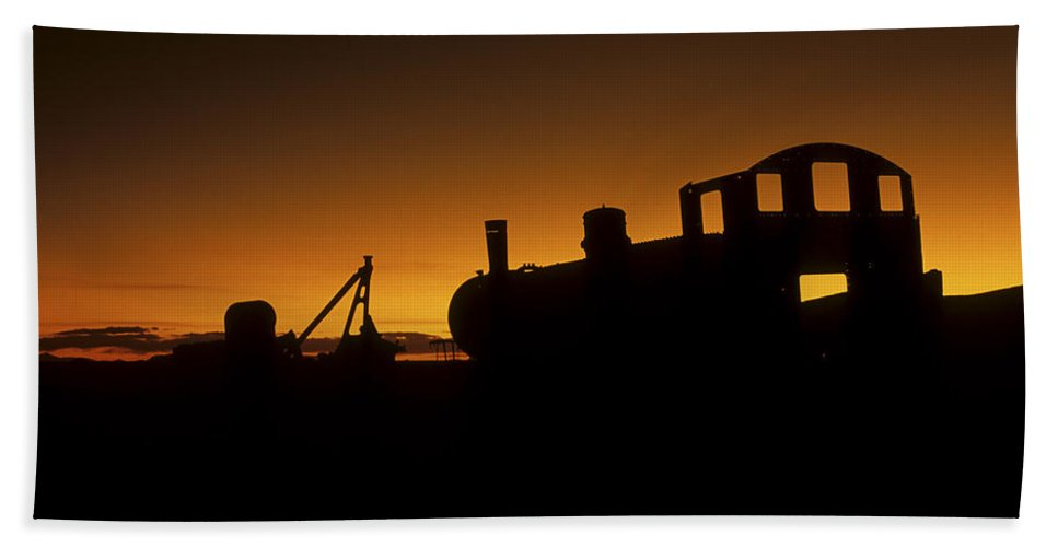 Train Beach Sheet featuring the photograph Uyuni Train Cemetery Sunset Bolivia by James Brunker