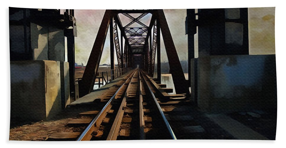 Train Rail Bridge Beach Towel featuring the painting Train Rail Bridge by L Wright