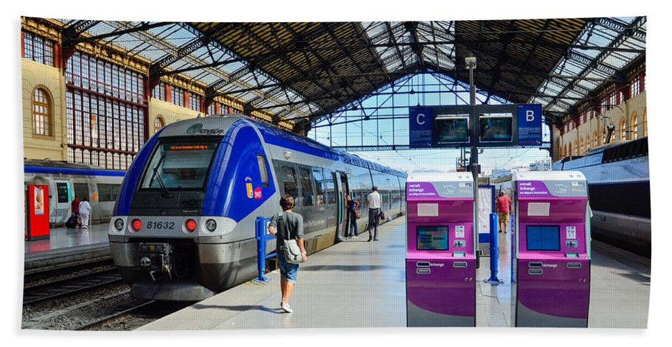 Marseille Beach Towel featuring the photograph Train Station Marseille France by Jeff Black