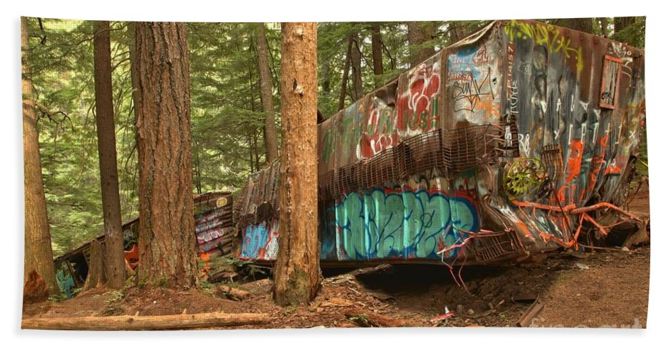 Train Wreck Beach Towel featuring the photograph Train Wreck Canvas Among The Trees by Adam Jewell