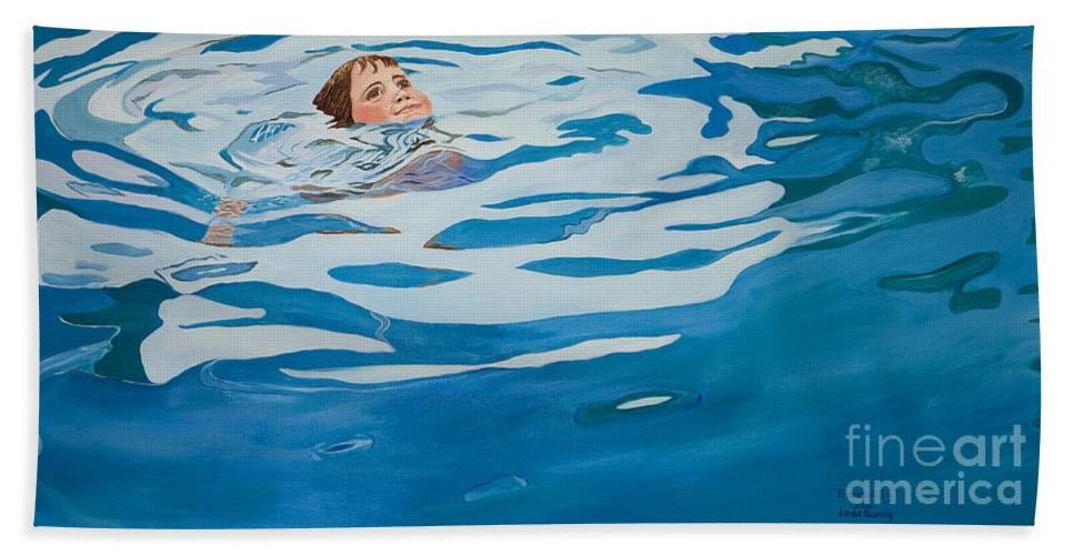 Swimming Pool Beach Towel featuring the painting Tranquility by Linda Queally