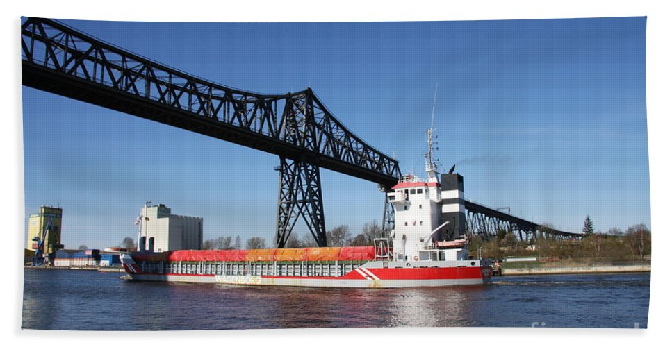 Bridge Beach Towel featuring the photograph Transporter Bridge Over Canal Rendsburg by Christiane Schulze Art And Photography