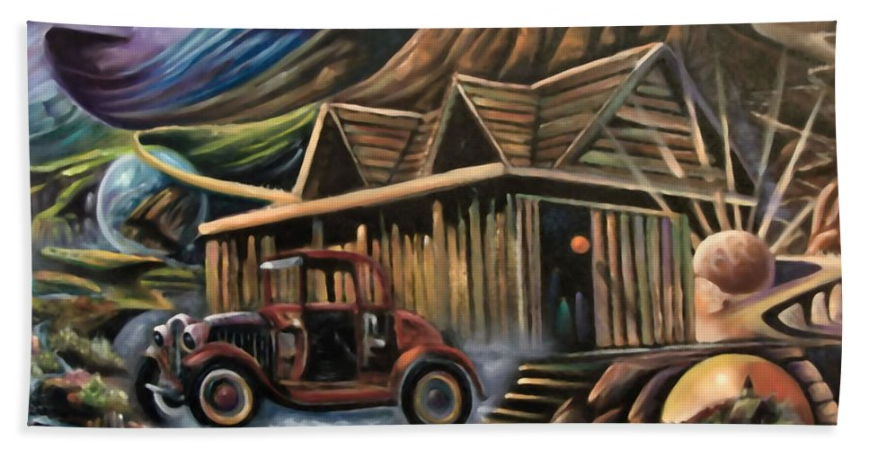 Car Beach Towel featuring the painting Traveling Car by Sue Stake