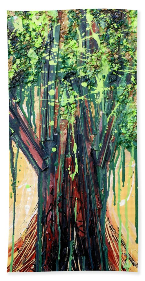 Tree Beach Towel featuring the painting Tree Grit by Genevieve Esson