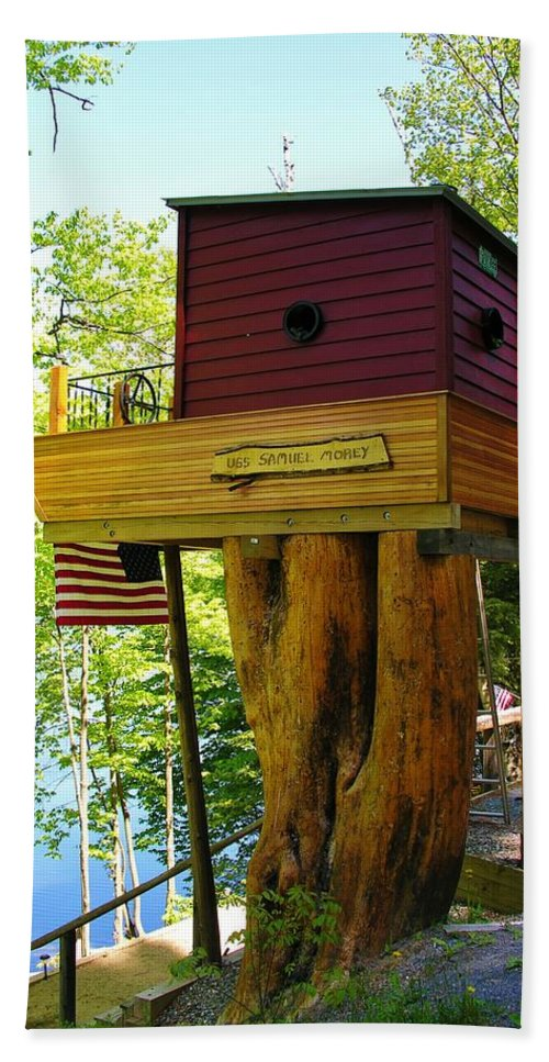 Tree House Beach Towel featuring the photograph Tree House Boat by Sherman Perry
