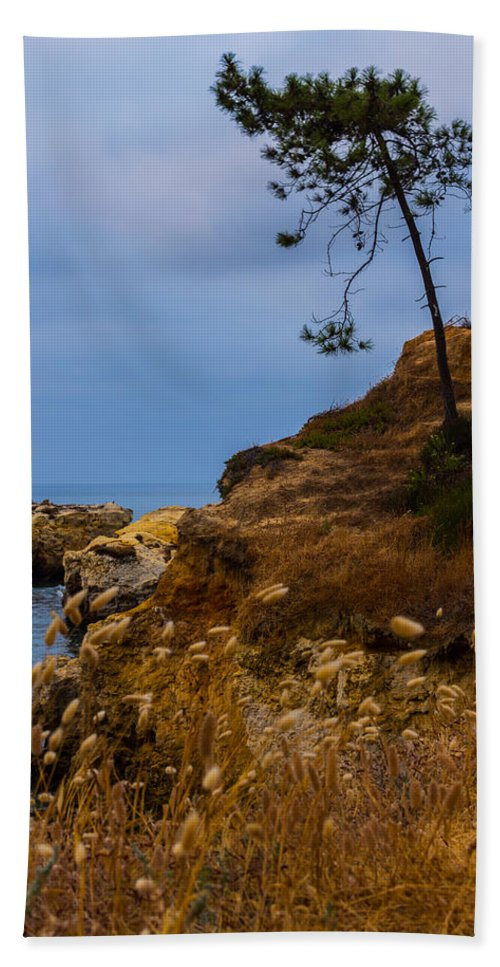 Albufeira Beach Towel featuring the photograph Tree On A Cliff II by Marco Oliveira