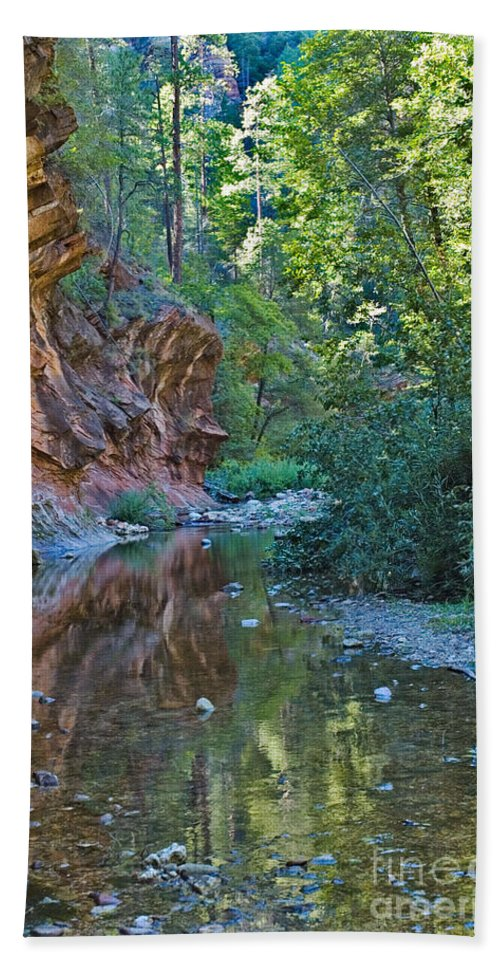 Tree Reflection Was Photographed In Oak Creek Canyon In Sedona Arizon Digital Images Beach Towel featuring the photograph Tree Reflection by Mae Wertz