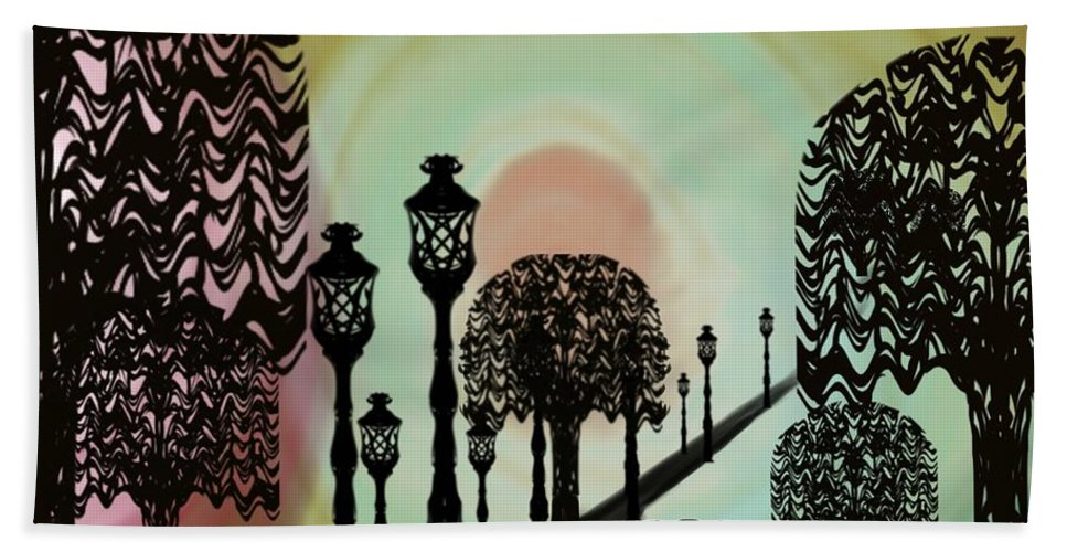 Abstract Beach Towel featuring the digital art Trees Of Lights by Christine Fournier