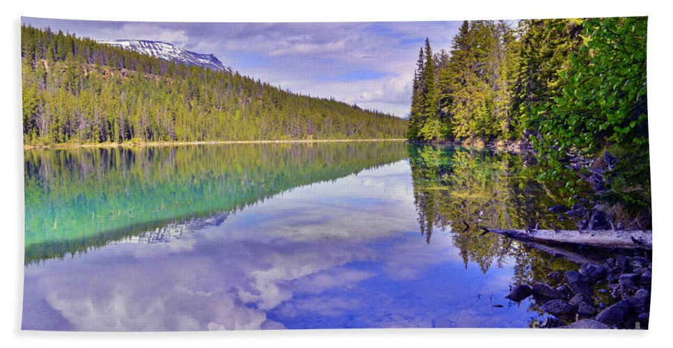 Valley Of The Five Lakes Beach Towel featuring the photograph Trees Reflected At Valley Of The Five Lakes by Tara Turner