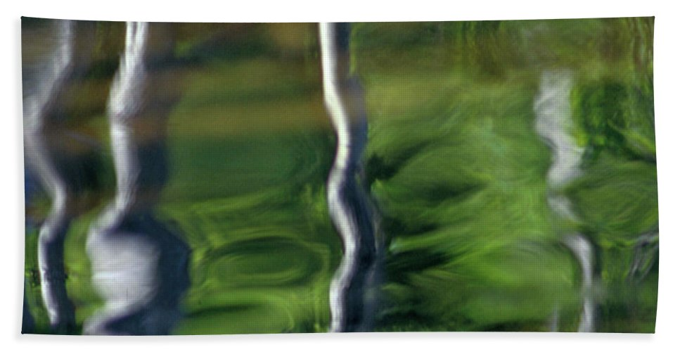 Nature Beach Towel featuring the photograph Trees Reflections On The River by Heiko Koehrer-Wagner