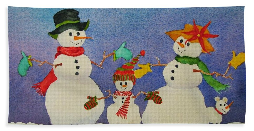 Christmas Card Beach Towel featuring the painting Tres Chic by Mary Ellen Mueller Legault
