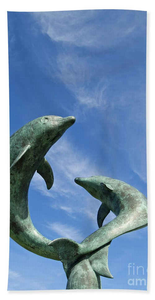 Sculpture Beach Towel featuring the photograph Tresco Dolphins by Alex Cassels