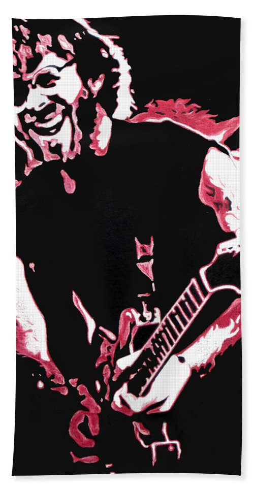 Phish Beach Towel featuring the drawing Trey Anastasio In Pink by Joshua Morton