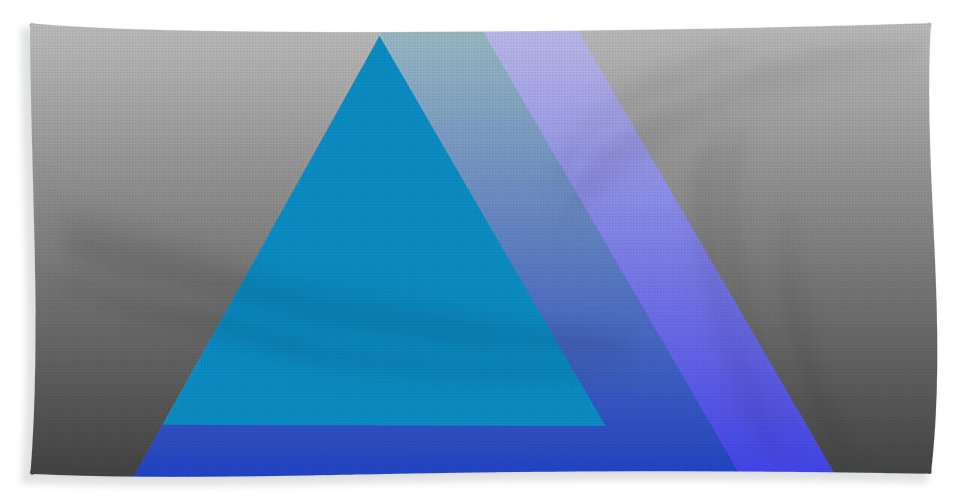 Digital-art Beach Towel featuring the digital art Triangle Abstract Blue by Mary Clanahan