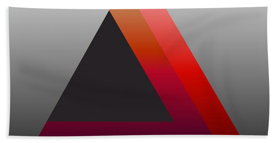 Digital-art Beach Towel featuring the digital art Triangle Abstract Red Grey by Mary Clanahan