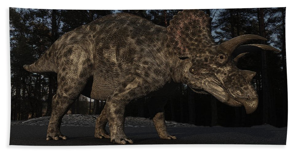 Triceratops Beach Towel featuring the digital art Triceratops by Ramon Martinez