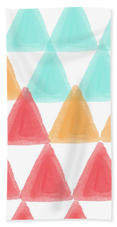 Triangles Beach Towel featuring the painting Trifold- Colorful Abstract Pattern Painting by Linda Woods