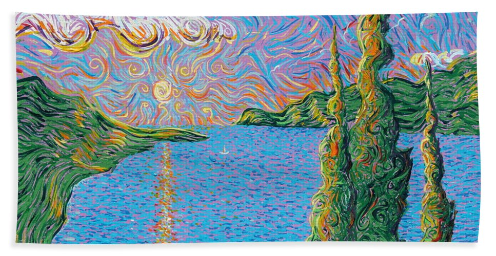 Landscape Beach Towel featuring the painting Trinity Lake 2 by Stefan Duncan