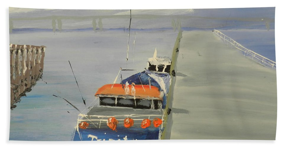 Impressionism Beach Towel featuring the painting Trinity Long Line Fishing Trawler At San Remo by Pamela Meredith