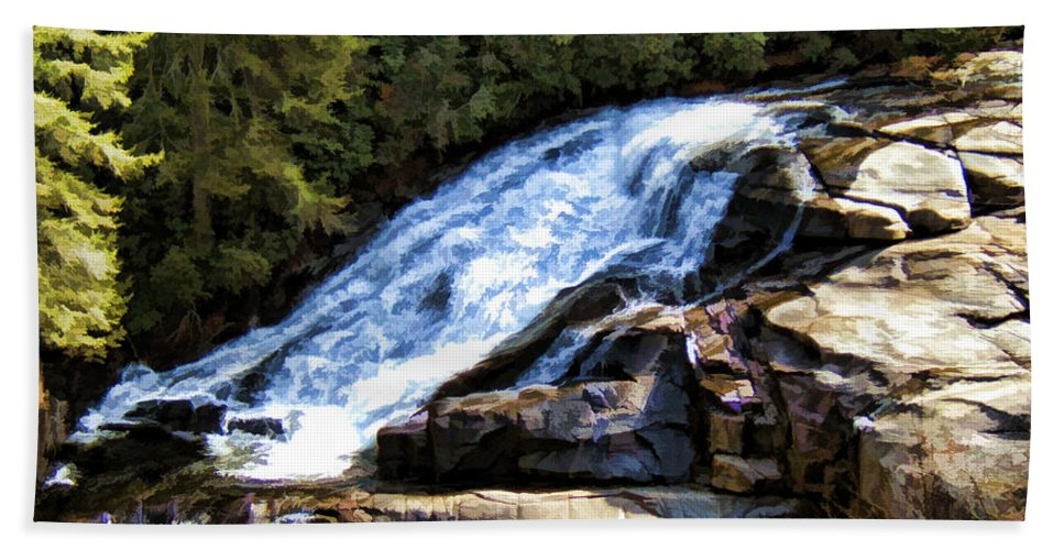 Triple Falls Beach Towel featuring the painting Triple Falls II by Steven Richardson