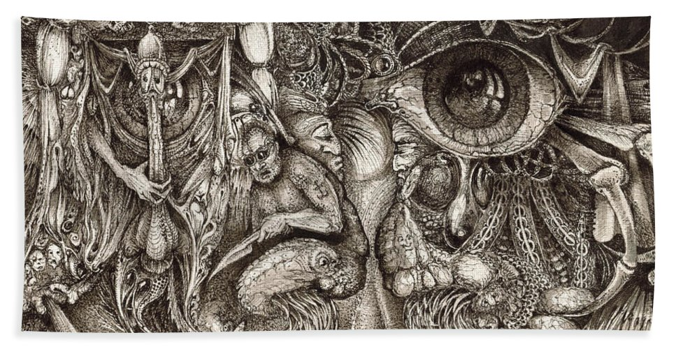 Surreal Beach Sheet featuring the drawing Tripping Through Bogomils Mind by Otto Rapp