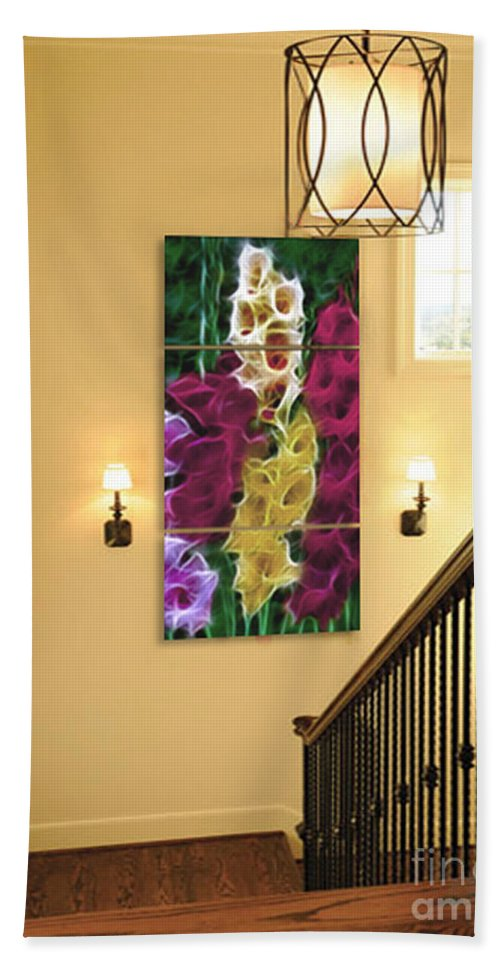 Gladiola Beach Towel featuring the photograph Triptych Display Sample 06 by Peter Piatt