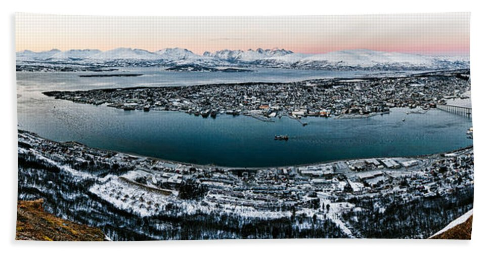 Tromso Beach Towel featuring the photograph Tromso From The Mountains by Dave Bowman