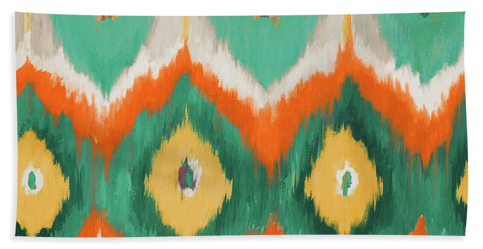 Tropical Beach Towel featuring the painting Tropical Ikat II by Patricia Pinto
