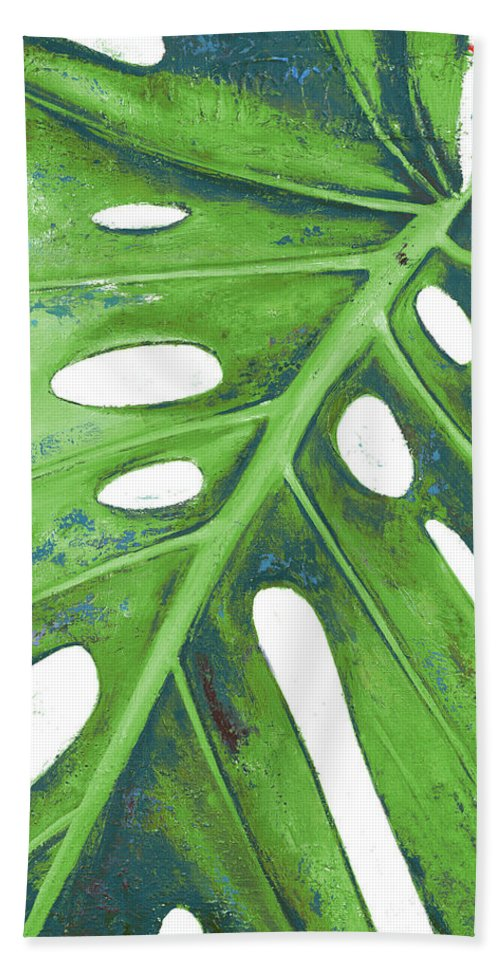 Tropical Beach Towel featuring the painting Tropical Leaf With Blue I by Patricia Pinto