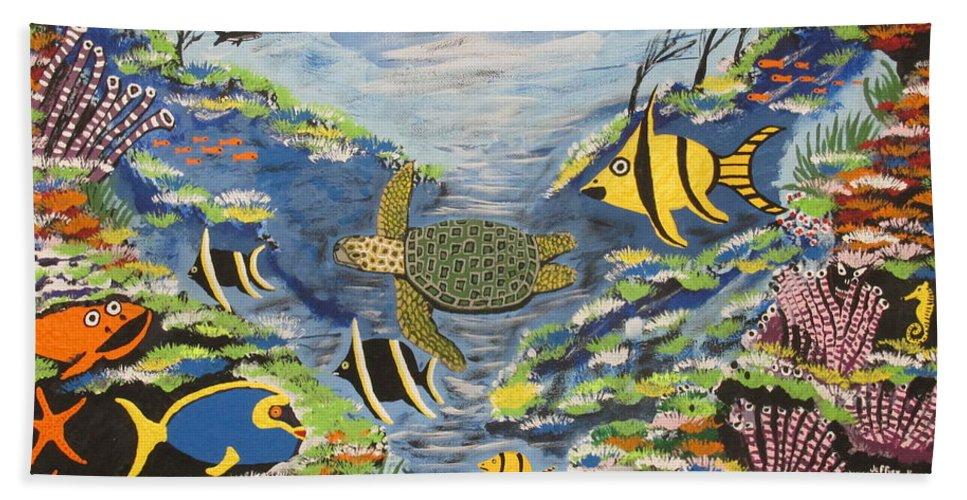 Tropical Fish Beach Towel featuring the painting Tropical Paradise by Jeffrey Koss
