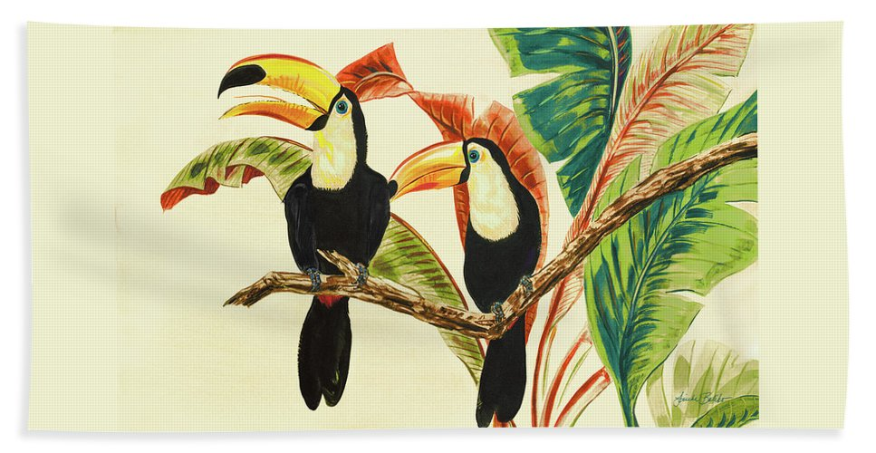 Toucans Beach Towel featuring the painting Tropical Toucans I by Linda Baliko
