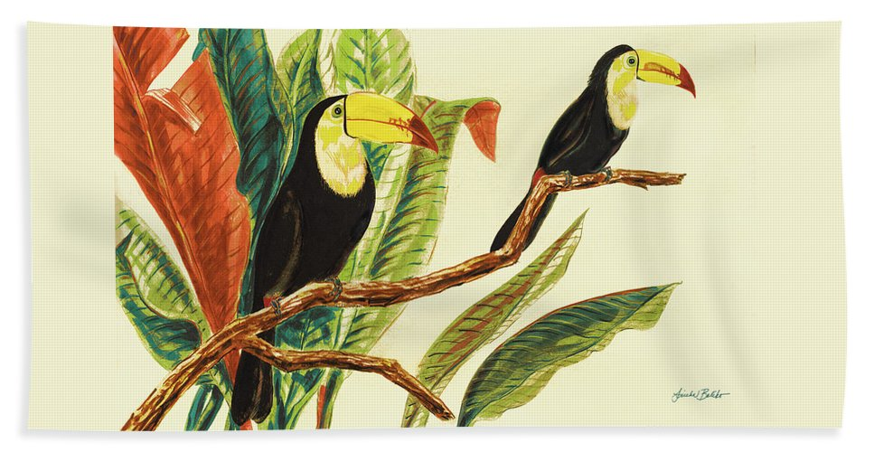 Toucans Beach Towel featuring the painting Tropical Toucans II by Linda Baliko