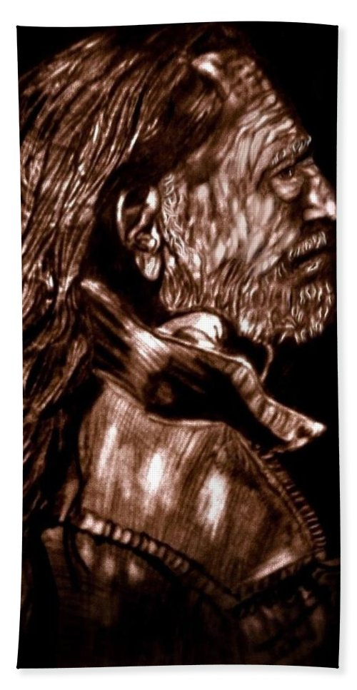 Willie Nelson Beach Towel featuring the drawing Troubadour by Herbert Renard