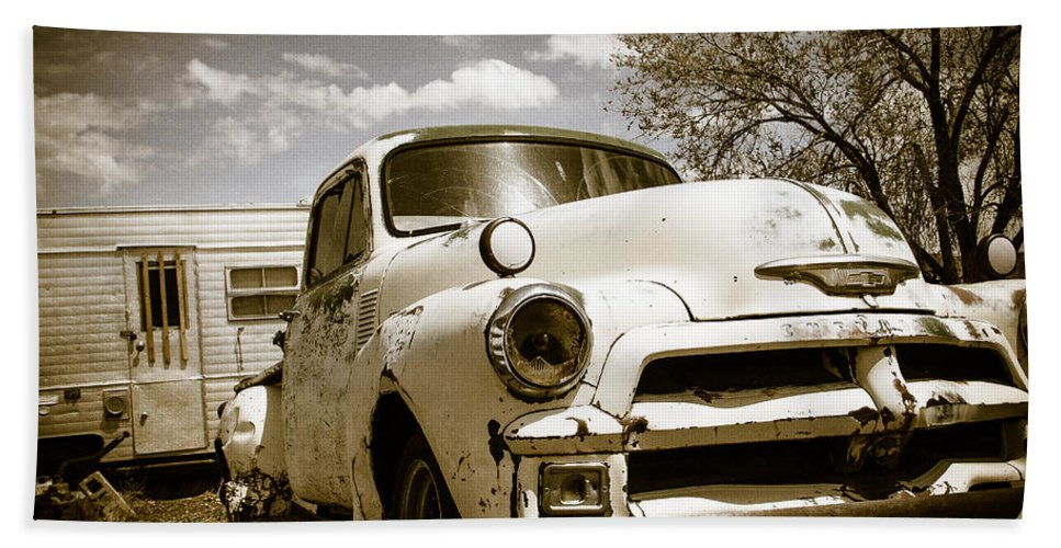 Made In America Beach Towel featuring the photograph Truck And Trailer by Steven Bateson
