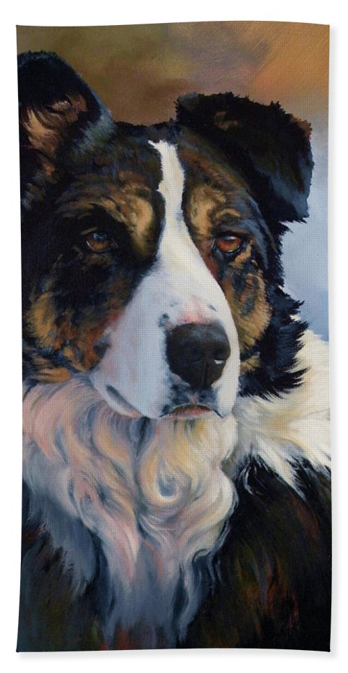 Stock Dogs Beach Towel featuring the painting Trudy by Mia DeLode