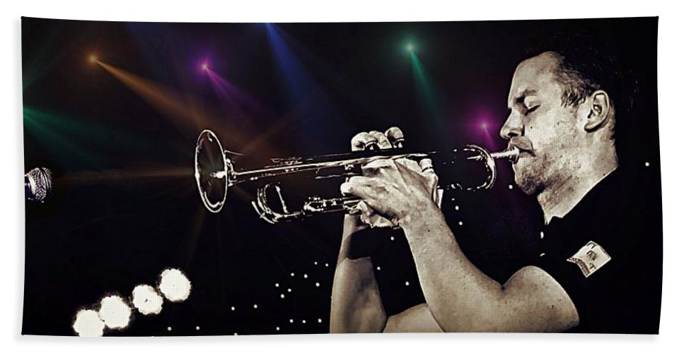 Trumpet Beach Towel featuring the photograph Trumpet Solo by Ian Gledhill