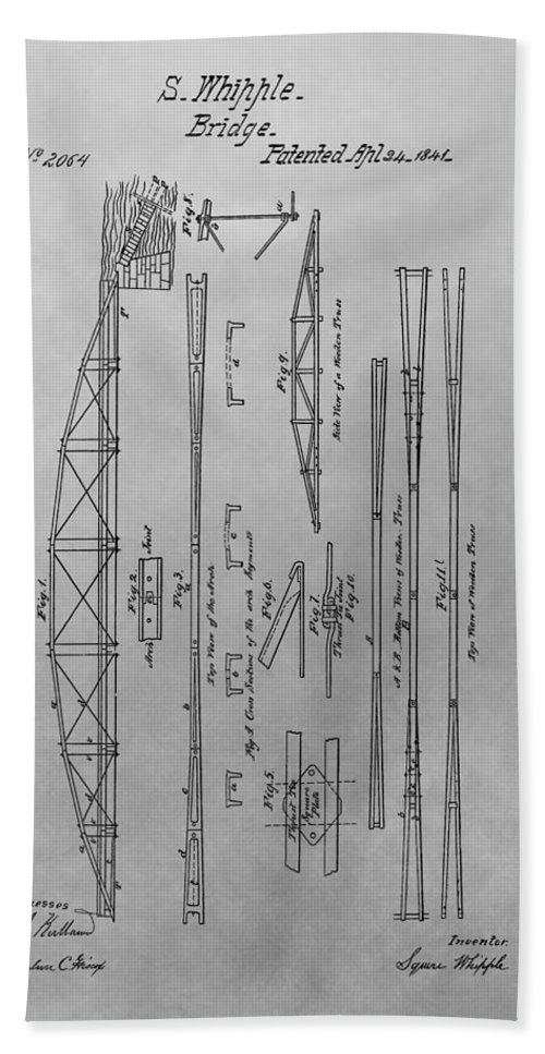 Squire Whipple Truss Bridge Patent Beach Towel featuring the drawing Truss Bridge Patent Drawing by Dan Sproul