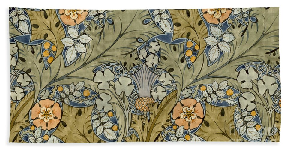 Voysey Beach Towel featuring the painting Tudor Roses Thistles And Shamrock by Voysey