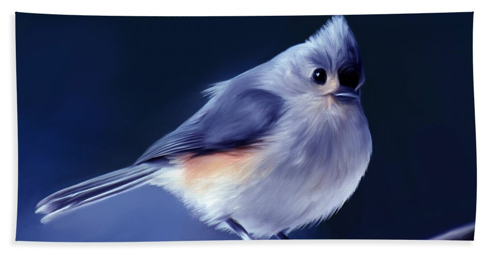 Bird Beach Towel featuring the painting Tufty The Titmouse by Pennie McCracken