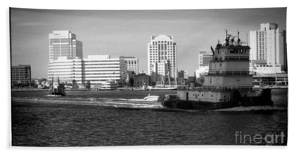 Tugboat Beach Towel featuring the photograph Tug With No Tow by Heather Taylor