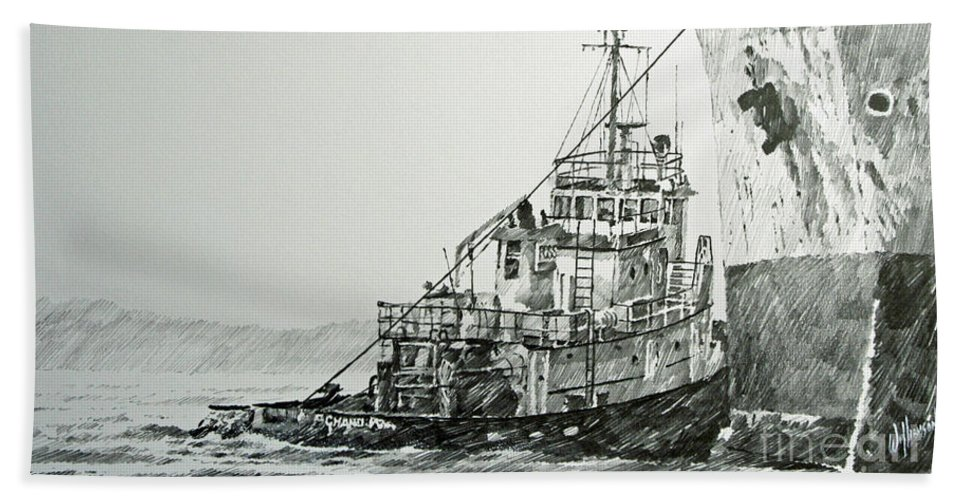 Tugs Beach Towel featuring the drawing Tugboat Richard Foss by James Williamson