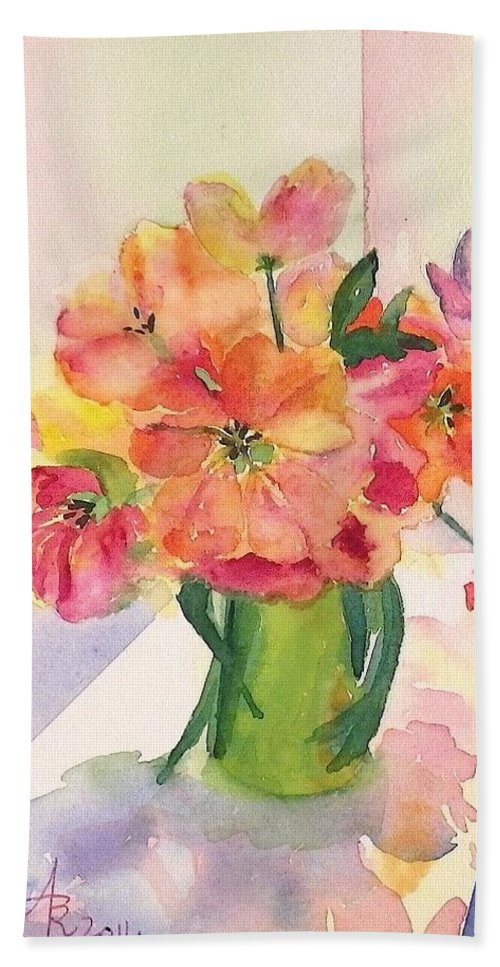 Tulip Beach Towel featuring the painting Tulips For Mother's Day by Anna Ruzsan