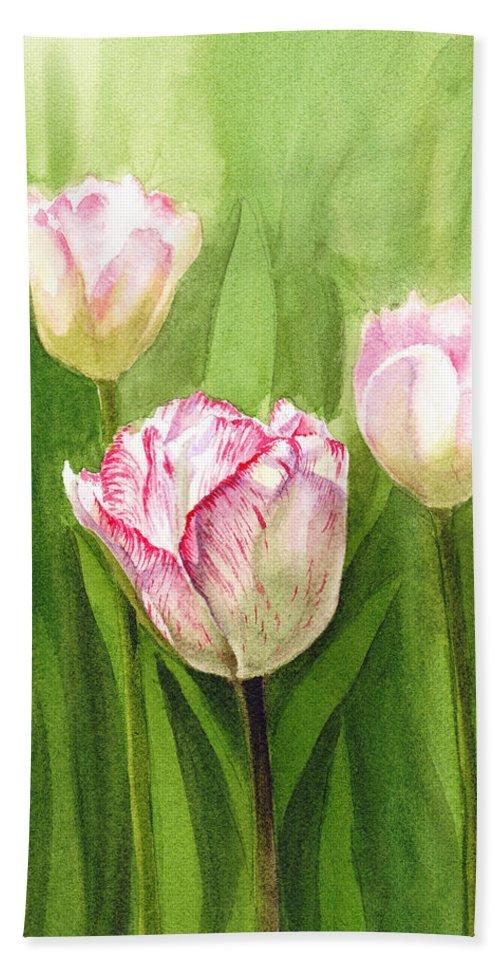 Tulip Beach Towel featuring the painting Tulips In The Fog by Irina Sztukowski