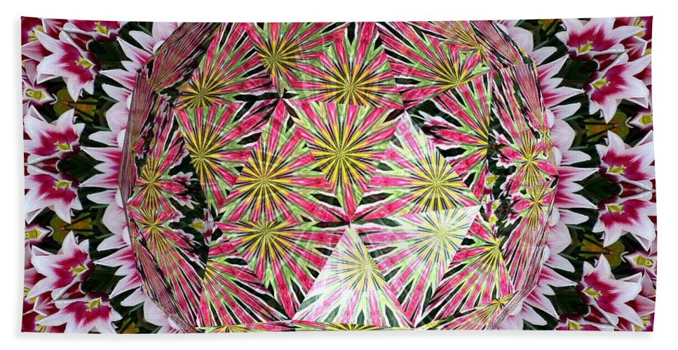 Tulips Beach Towel featuring the photograph Tulips Kaleidoscope Under Polyhedron Glass by Rose Santuci-Sofranko