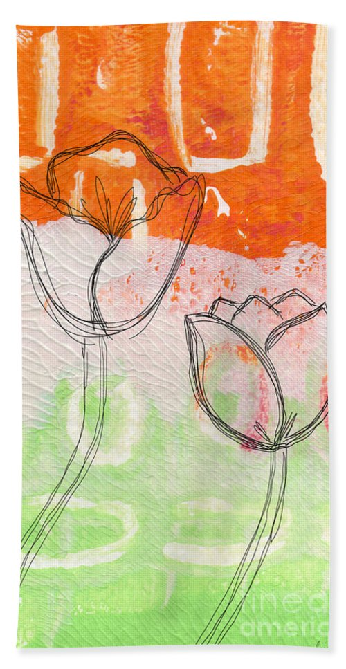 Abstract Beach Towel featuring the mixed media Tulips by Linda Woods