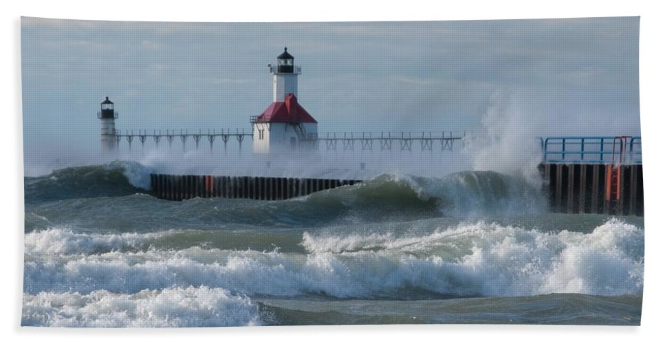 Wind Beach Towel featuring the photograph Tumultuous Lake by Ann Horn