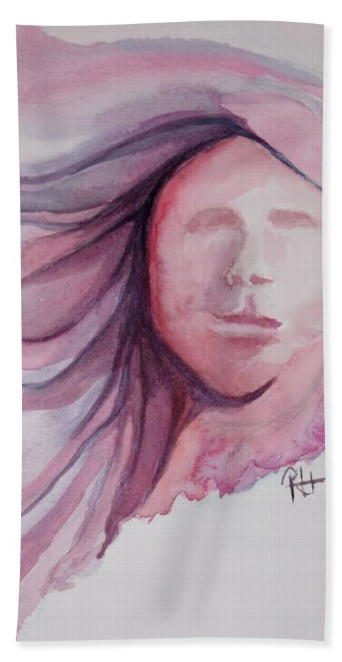 Surreal Figure Beach Towel featuring the painting Turbulence by Rachel Hames