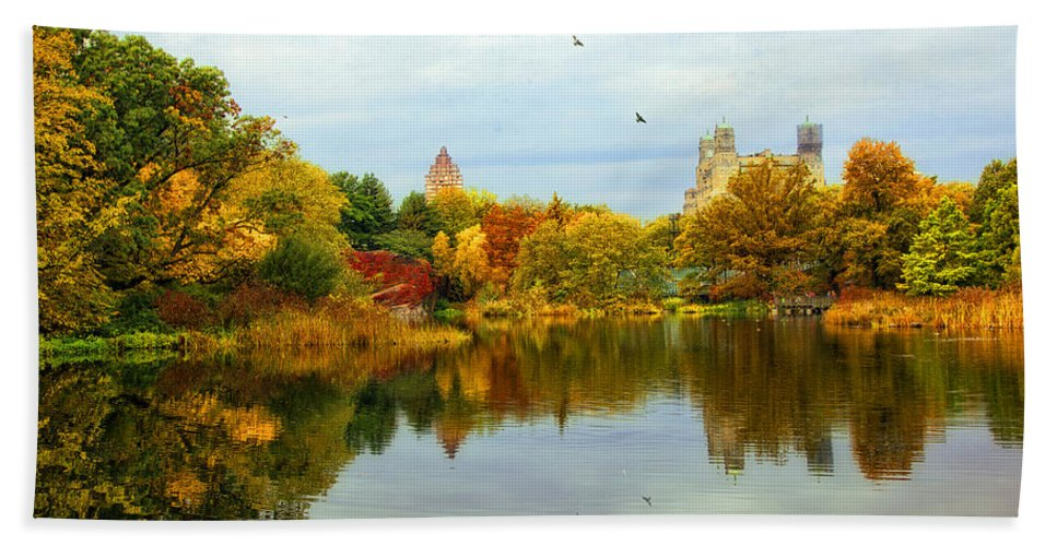 Autumn Beach Towel featuring the photograph Turtle Pond 2 - Central Park - Nyc by Madeline Ellis