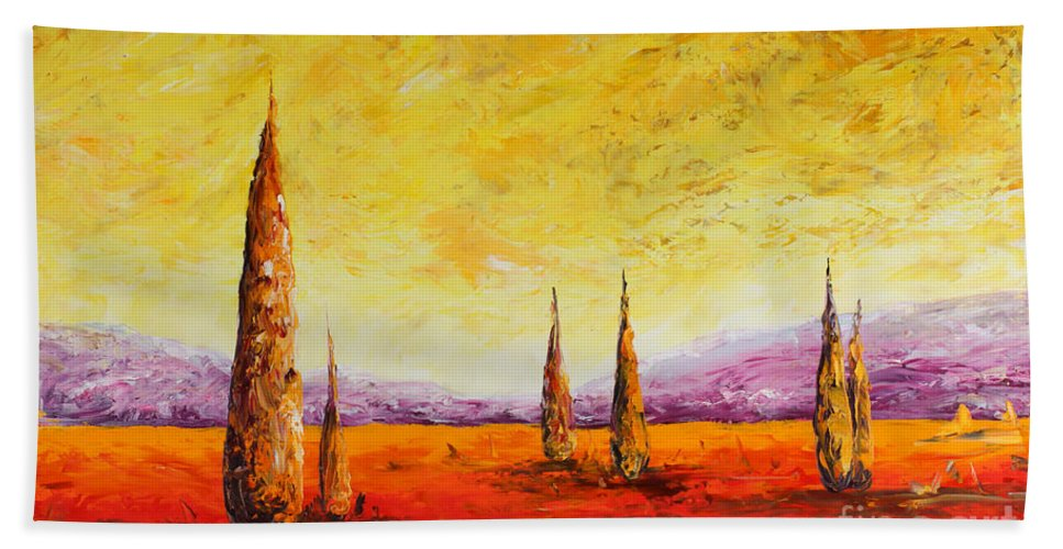 Trees Beach Towel featuring the painting Tuscan Blast by Andrew Sanan